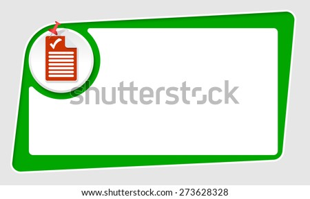 vector abstract green box and pushpin and check box - stock vector
