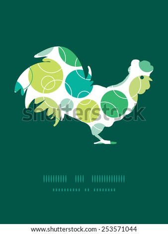 Vector abstract green circles rooster silhouette Easter frame - stock vector
