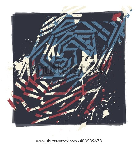 Vector abstract grunge print design. Dirty brush painted geometric design with american flag colors, stars and stripes.