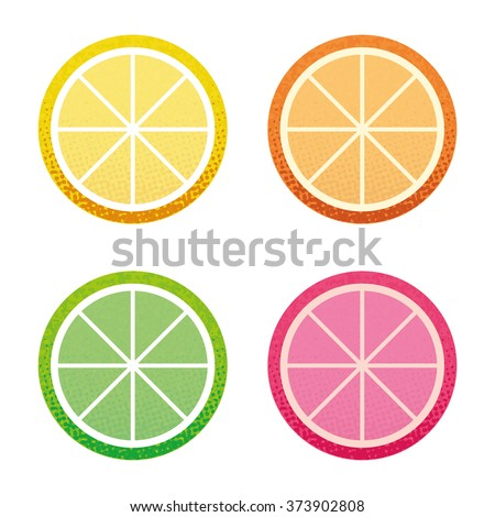 Vector abstract grunge retro hand drawn orange lemon grapefruit lime citrus slice design template set.
