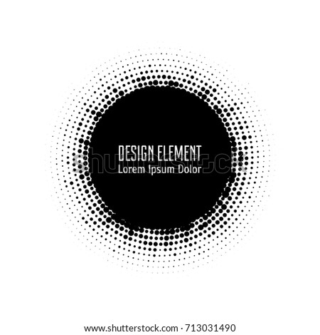 Vector abstract halftone circle frames set.  Abstract dotted gradient logo design elements. Grunge halftone textured patterns with dots. Pop art dotted circle templates isolated on white