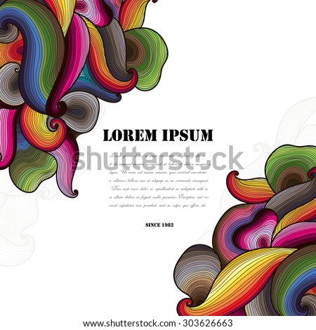 Vector abstract hand-drawn colorful waves background with place for your text