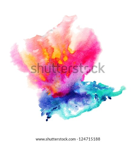 vector abstract hand drawn watercolor background,vector illustration, stain watercolors colors wet on wet paper - stock vector