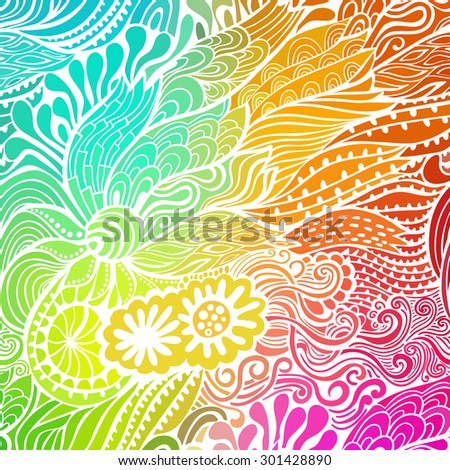 Vector abstract hand-drawn waves texture, wavy background. Colorful waves backdrop - stock vector
