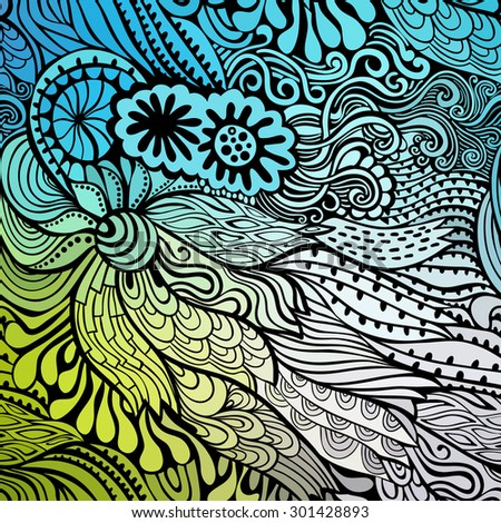 Vector abstract hand-drawn waves texture, wavy background. Colorful waves backdrop
