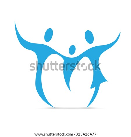 Vector abstract happy blue family