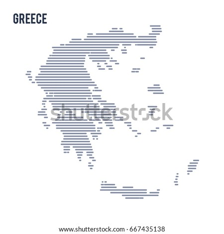 Vector abstract hatched map of Greece with lines isolated on a white background.
