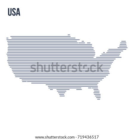 Vector Abstract Hatched Map Of The United States Of America With Horizontal Lines Isolated On A