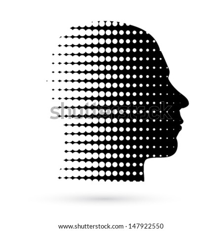 Vector abstract head concept illustration - stock vector