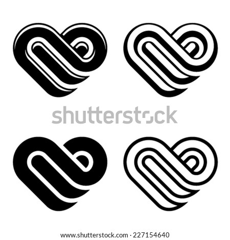 vector abstract heart black white symbols - stock vector
