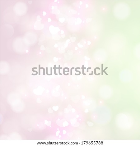 Vector abstract heart bokeh bright background.
