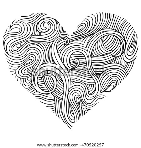 Vector abstract heart. Monochrome element for design. Sketch illustration. Pattern for relax and meditation. Line art on white background.