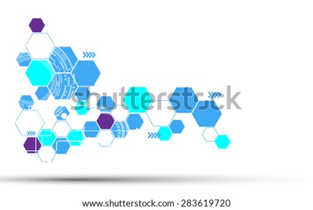 vector abstract hexagon technology concept white background
