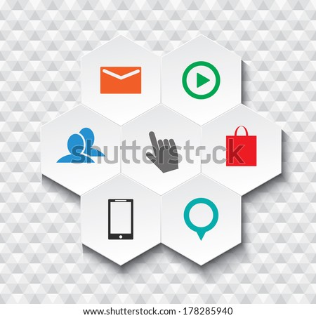 Vector Abstract Hexagonal Web icon inforgaphic elements