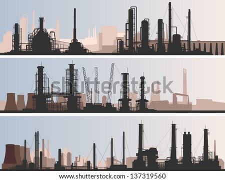 Vector abstract horizontal banner: industrial part of city with factories, refineries and power plants. - stock vector
