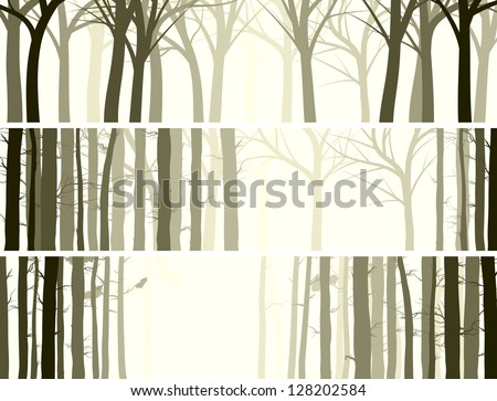 Vector abstract horizontal banner with many tree trunks (coniferous and deciduous forest). - stock vector