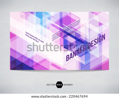Vector abstract horizontal banner with purple modern futuristic hi-tech background - stock vector