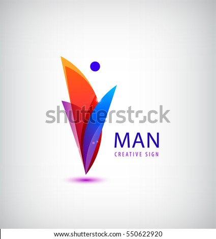 Vector abstract human, man logo. Colorful creative idea for your company. Leader, healthy lifestyle, person, character icon.