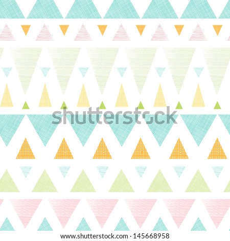 Vector abstract ikat triangles stripes seamless pattern background with hand drawn elements. - stock vector