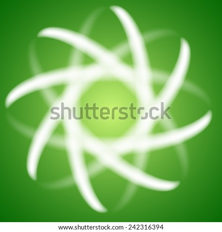 Vector abstract illustration. Blured science atom (or molecule) on green background. - stock vector