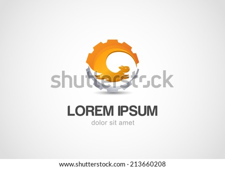 Vector Abstract illustration logo of squirrel and gear. - stock vector
