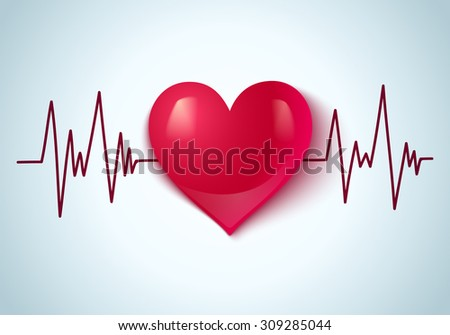 Vector abstract illustration of a heart and pulse - stock vector