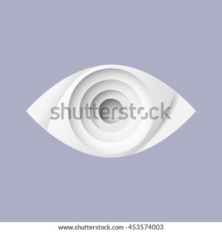 Vector abstract illustration of a white paper eye. Gray soft shadows between the layers of paper.