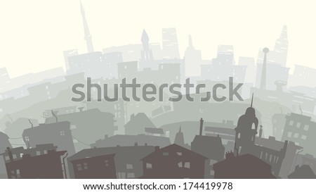 Vector abstract illustration of childish downtown city with roofs, windows in yellow green tone. - stock vector
