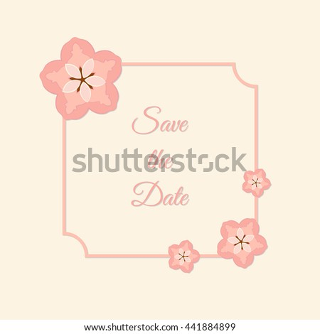 Vector Abstract Illustration Of Decorative Sakura Square Frame Save The Date For Wedding