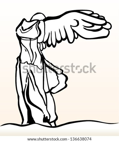 Vector abstract illustration of Greek sculpture Nike from Samothrace. Black & white. - stock vector