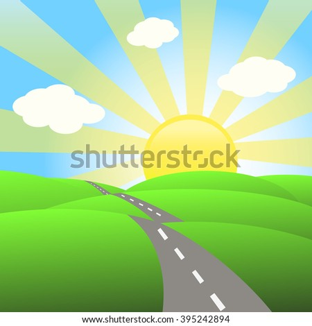 Vector Abstract Illustration of Landscape with Highway. Picture of Road.