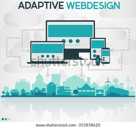 Vector abstract illustration of small city skyline in front of cloudy sky, and gadgets and devices, connecting to a network - stock vector