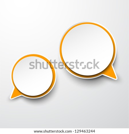 Vector abstract illustration of white and orange paper round speech bubbles on grey background. Eps10. - stock vector