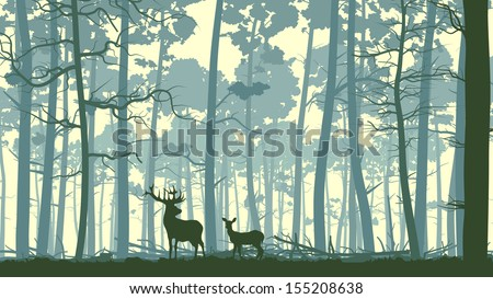Vector abstract illustration of wild deer in forest with trunks of trees. - stock vector