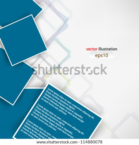 Vector abstract illustration overlapping blue square with shadow - eps10 - stock vector