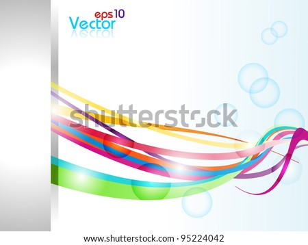 Vector abstract illustration with colorful waves on bubbles background. - stock vector
