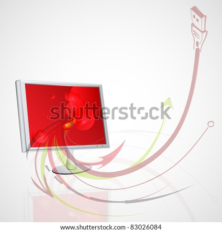 Vector abstract illustration with your monitor - stock vector