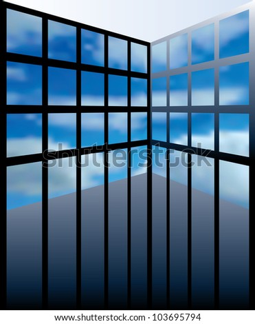 vector abstract interior with cloudy screens or windows - stock vector
