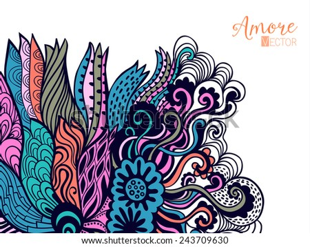 Vector abstract invitation card with abstract wave.  Lace ornament. Template wavy frame design for card - stock vector