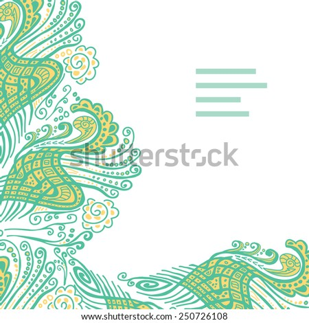 Vector abstract invitation card with green abstract wave. Lace ornament. Template wavy frame design for card - stock vector