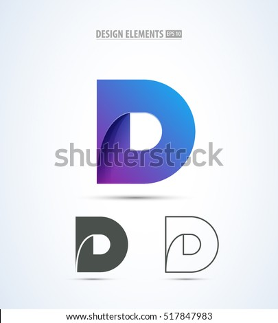 Vector Abstract Letter D Logo Design Concept Origami Paper Icon Set