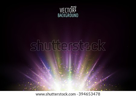 Vector abstract light. Bright glowing on dark background. Shiny sun light effect. - stock vector