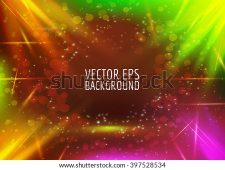 Vector abstract lights background. Colorful bright glow. Multicolor light on dark.