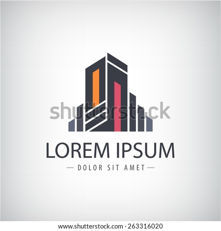 vector abstract line ribbon modern icon, logo building silhouette isolated - stock vector