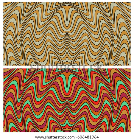 Vector abstract line stripes. Waves horizontal backgrounds set