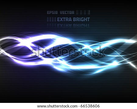 Vector abstract lines design on dark blue and violet background. Composition has very bright highlights. - stock vector