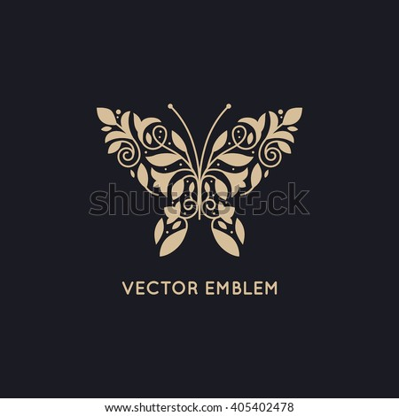 Vector abstract logo design template and emblem - butterfly silhouette made with leaves and flowers - concepts for cosmetics, beauty and florist services - butterfly illustration - print or packaging - stock vector