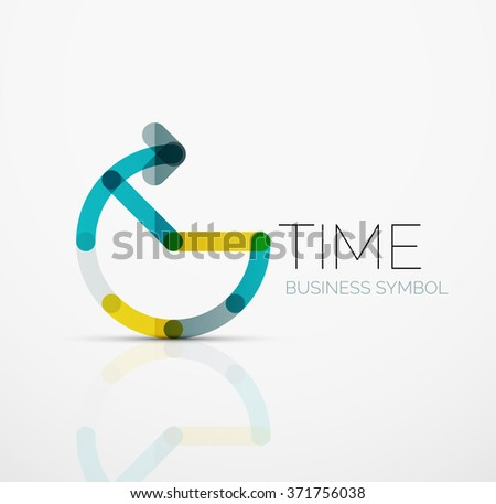 Vector abstract logo idea, time concept or clock business icon. Creative logotype design template - stock vector