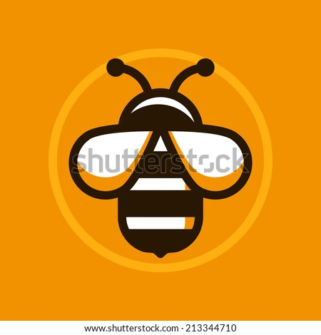 Vector abstract logo symbol in trendy flat style - bee sign - stock vector