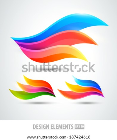 Vector abstract logo wings. Modern creative elements for design. Color icons set - stock vector